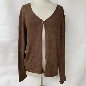 Talbots Brown One Button Sweater Made in Italy